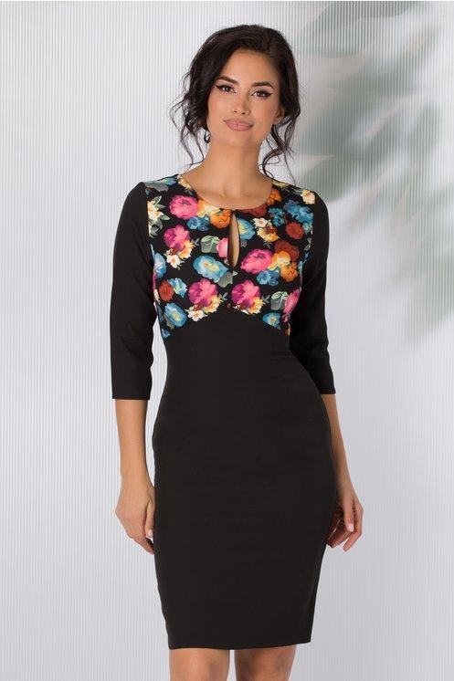 Rochie Gabriela neagra cu imprimeu floral pastelat