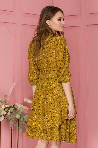 Rochie Gaby galben mustar cu imprimeuri geometrice