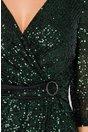 Rochie Gaya neagra cu paiete verzi si cordon fals in talie