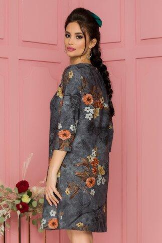 Rochie Geanina gri cu imprimeu floral