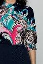 Rochie Georgiana bleumarin cu animal print si pliuri la baza gatului