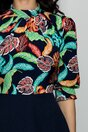 Rochie Georgiana bleumarin cu imprimeu exotic si pliuri la baza gatului