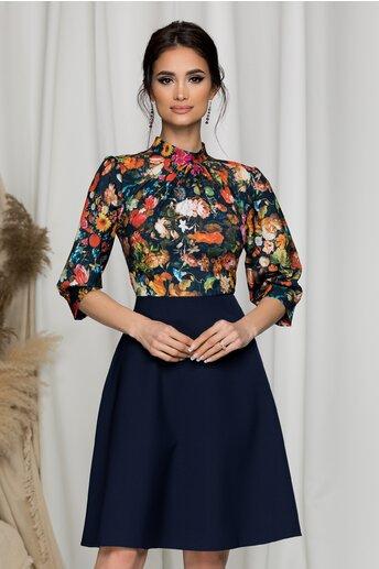 Rochie Georgiana bleumarin cu imprimeu floral cu pliuri la baza gatului