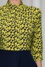 Rochie Georgiana bleumarin cu imprimeu floral si bust galben