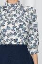 Rochie Georgiana bleumarin cu pliuri la baza gatului si imprimeu cu fundite pe bustul alb