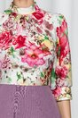 Rochie Georgiana lila cu pliuri la baza gatului si trandafiri maxi pe bust