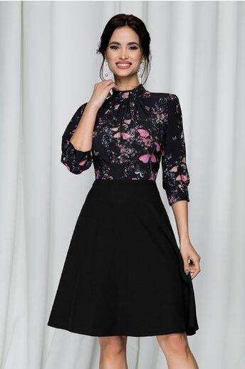 Rochie Georgiana neagra cu pliuri la baza gatului si imprimeu floral
