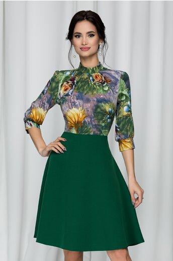 Rochie Georgiana verde cu imprimeu floral si pliuri la baza gatului