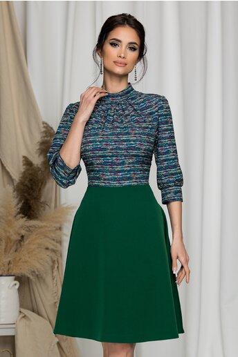 Rochie Georgiana verde cu imprimeu multicolor pe bust
