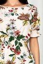 Rochie Georgie ivory cu maneci scurte si imprimeu floral