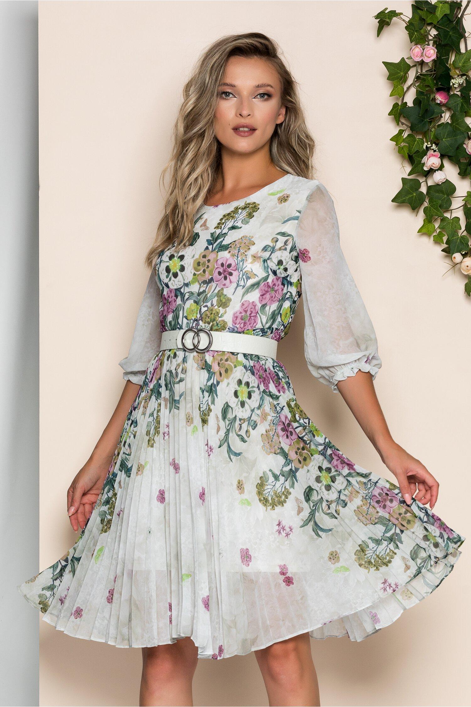 Rochie Georgina alba cu imprimeu floral mov