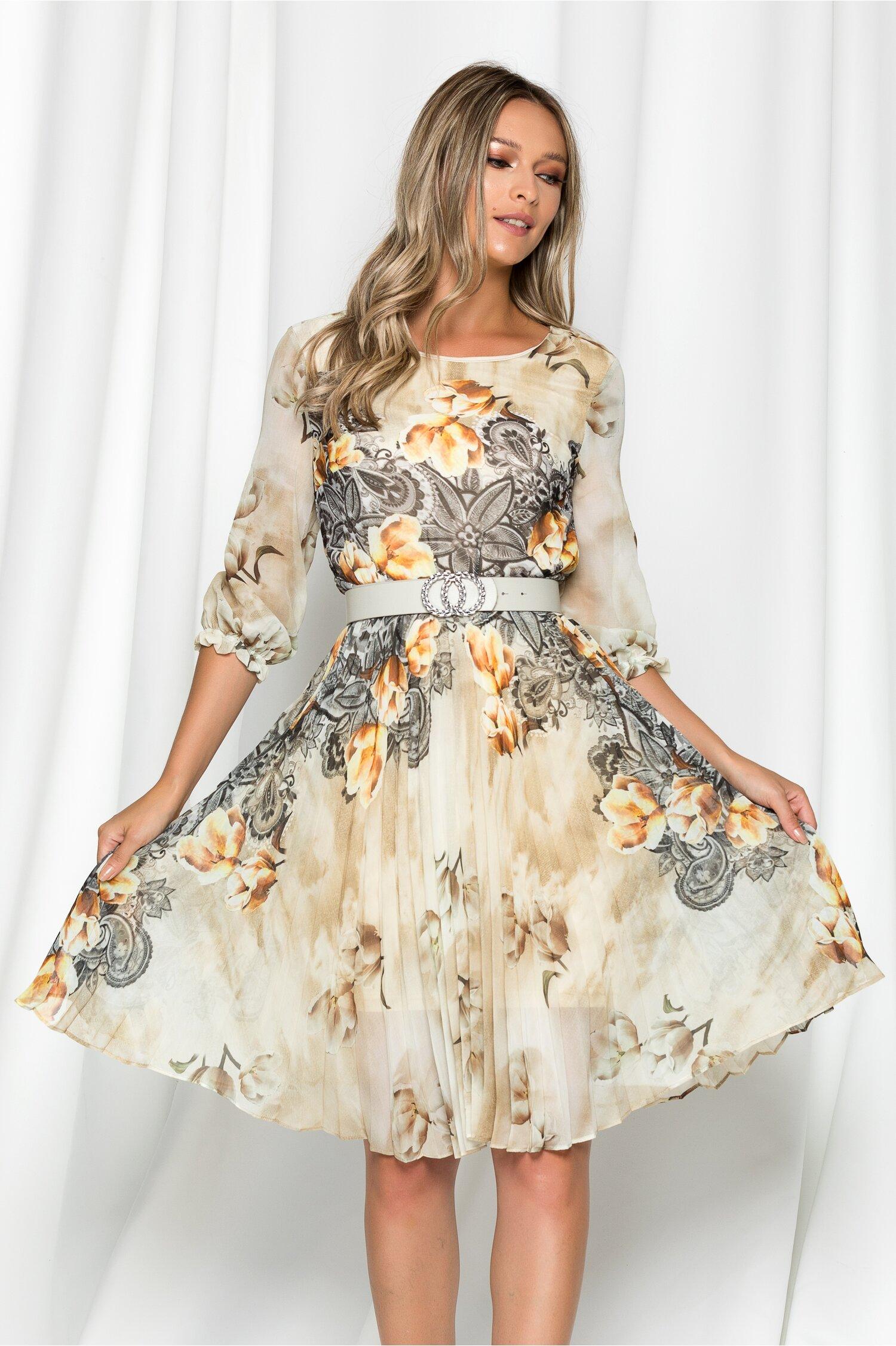 Rochie Georgina galben pal cu imprimeu floral maro si pliuri pe fusta