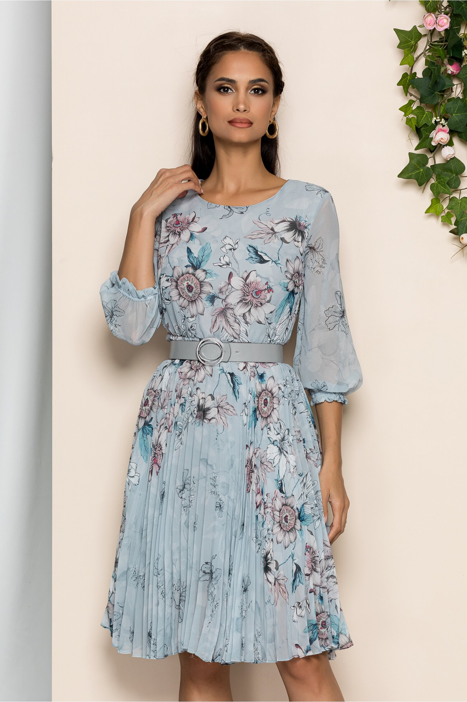Rochie Georgina verde mint pal cu imprimeu floral roze