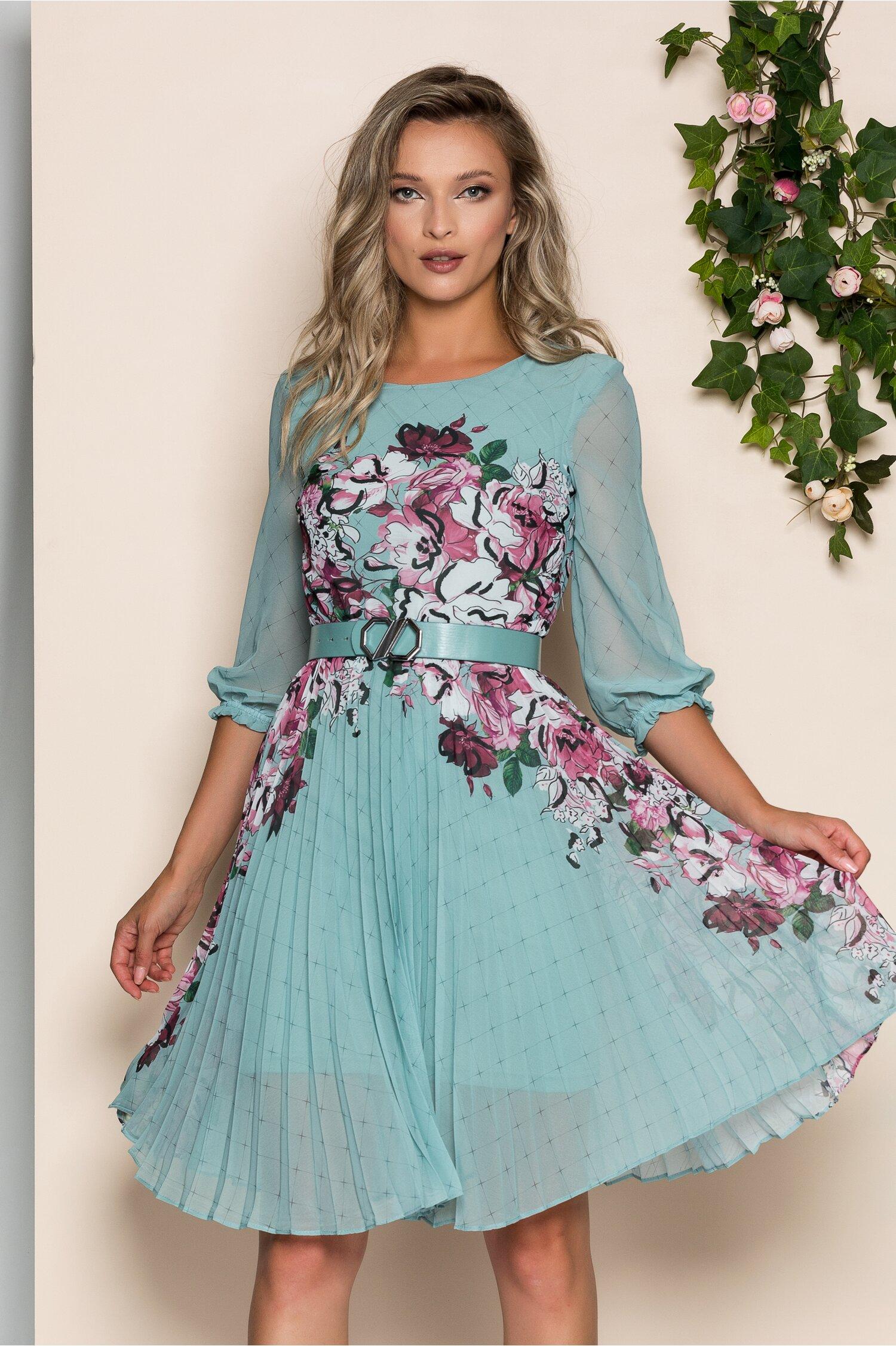 Rochie Georgina verde mint cu imprimeu floral bordo