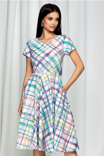 Rochie Geraldine alba cu imprimeu in culori pastelate