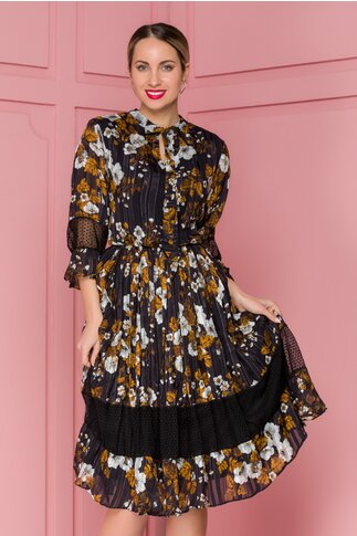 Rochie Gia neagra cu dungi si flori maro