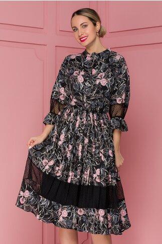 Rochie Gia neagra cu dungi si flori roz
