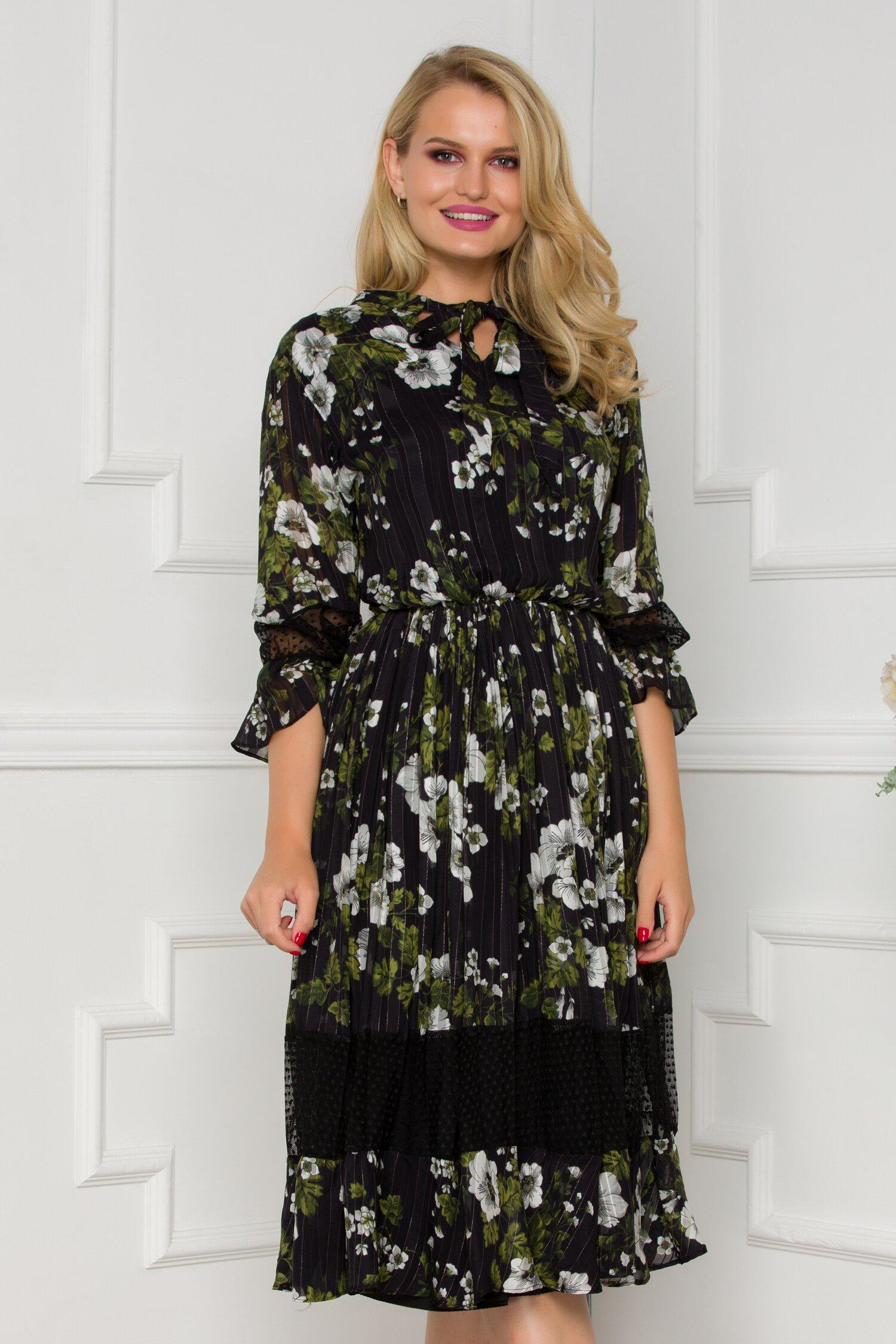 Rochie Gia neagra cu dungi si imprimeu floral in nuante de kaki imagine