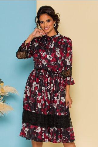 Rochie Gia neagra cu dungi si imprimeu floral in nuante de rosu