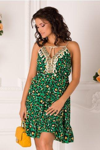 Rochie Gianina verde cu animal print si ciucurei la bust