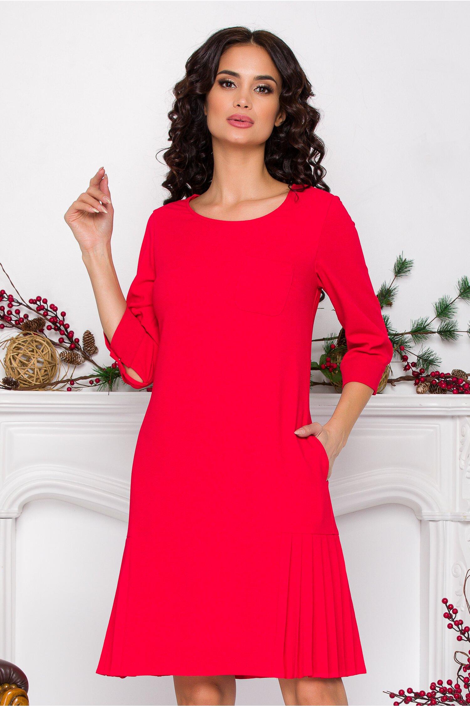 Rochie Gilly rosie cu design plisat la baza