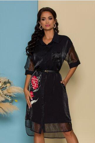 Rochie Gina neagra tip camasa cu imprimeu si detalii din organza