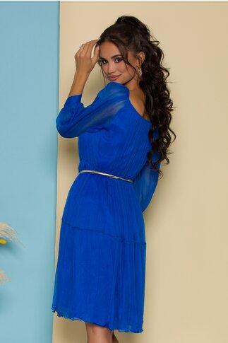 Rochie Ginette albastra din matase naturala