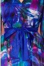 Rochie Ginette albastra din voal satinat cu imprimeu abstract