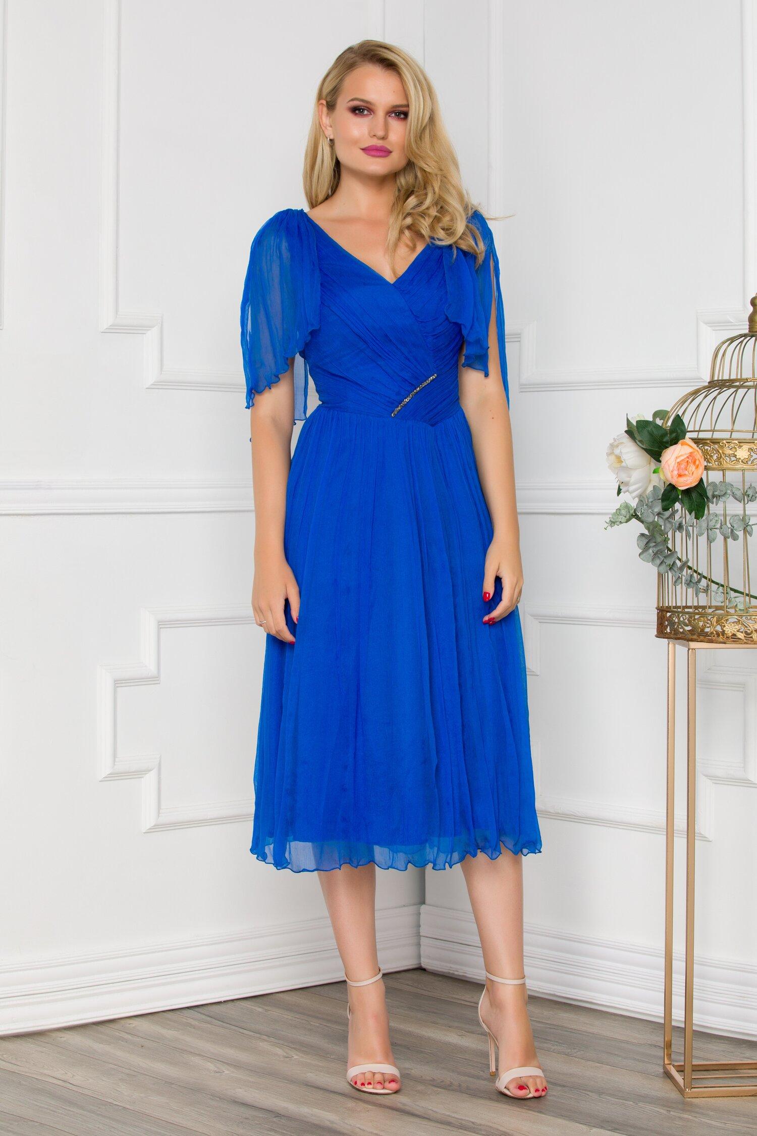 Rochie Ginette albastru royal din matase accesorizata discret cu strasuri imagine