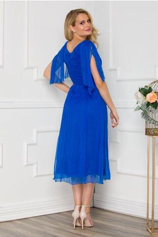 Rochie Ginette albastru royal din matase accesorizata discret cu strasuri