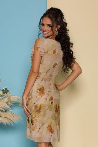 Rochie Ginette beige cu imprimeu floral discret