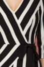 Rochie Ginette cu dungi alb-negru si aspect petrecut