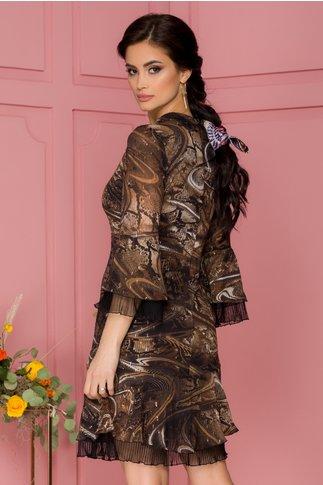 Rochie Ginette maro cu imprimeuri diverse si insertii aurii