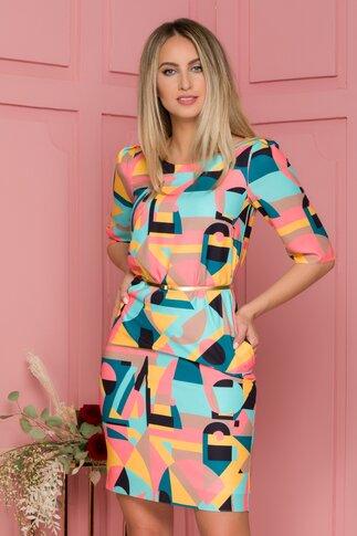 Rochie Ginette multicolora cu imprimeuri geometrice si curea aurie in talie