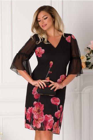 Rochie Ginette neagra cu imprimeu floral in nuante de roz