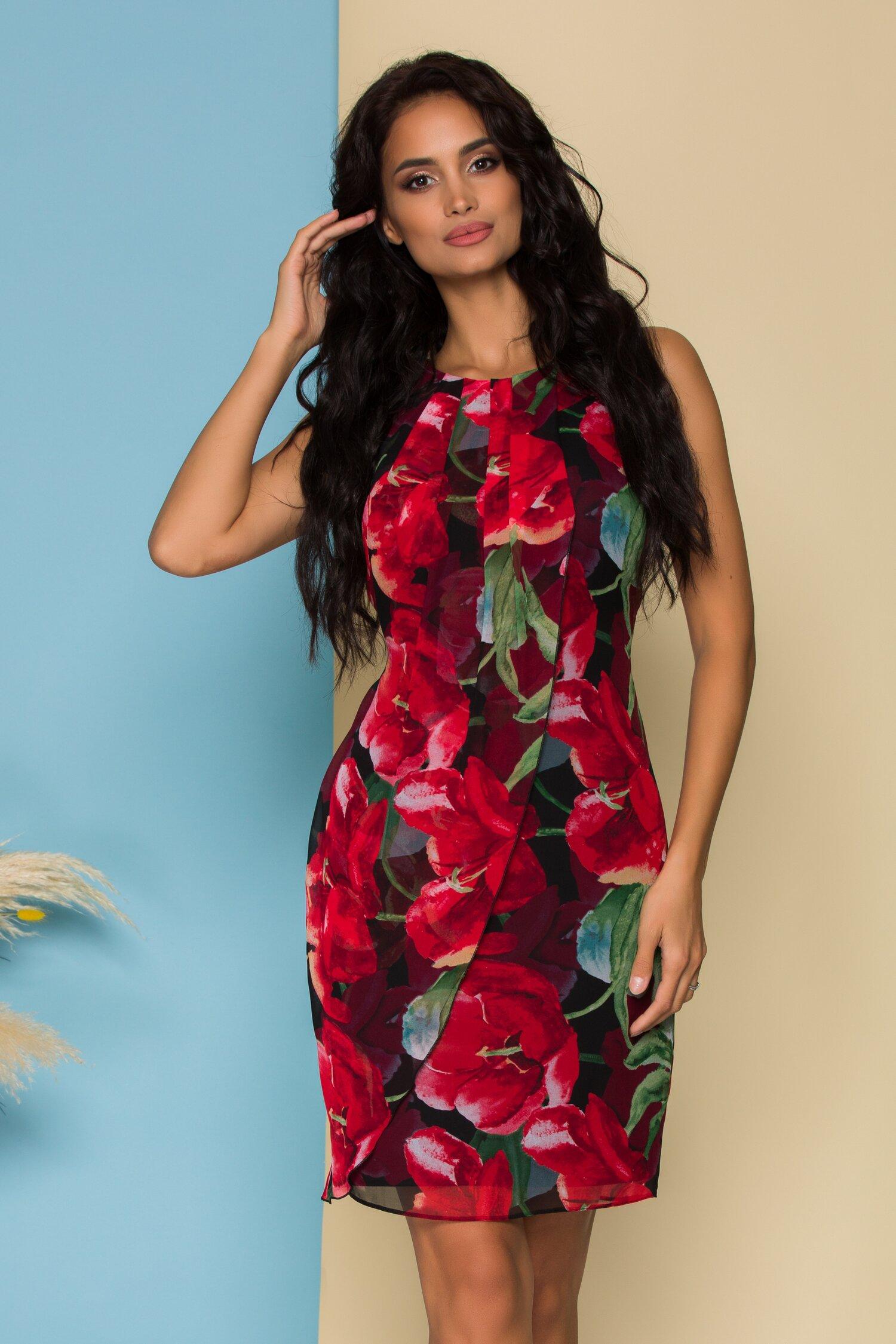 Rochie Ginette neagra cu imprimeu floral rosu