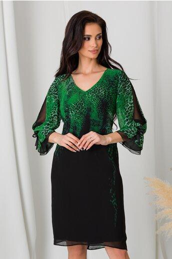 Rochie Ginette neagra cu imprimeu verde la bust