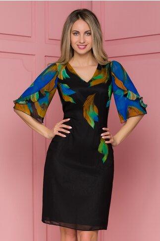 Rochie Ginette neagra cu imprimeuri albastre