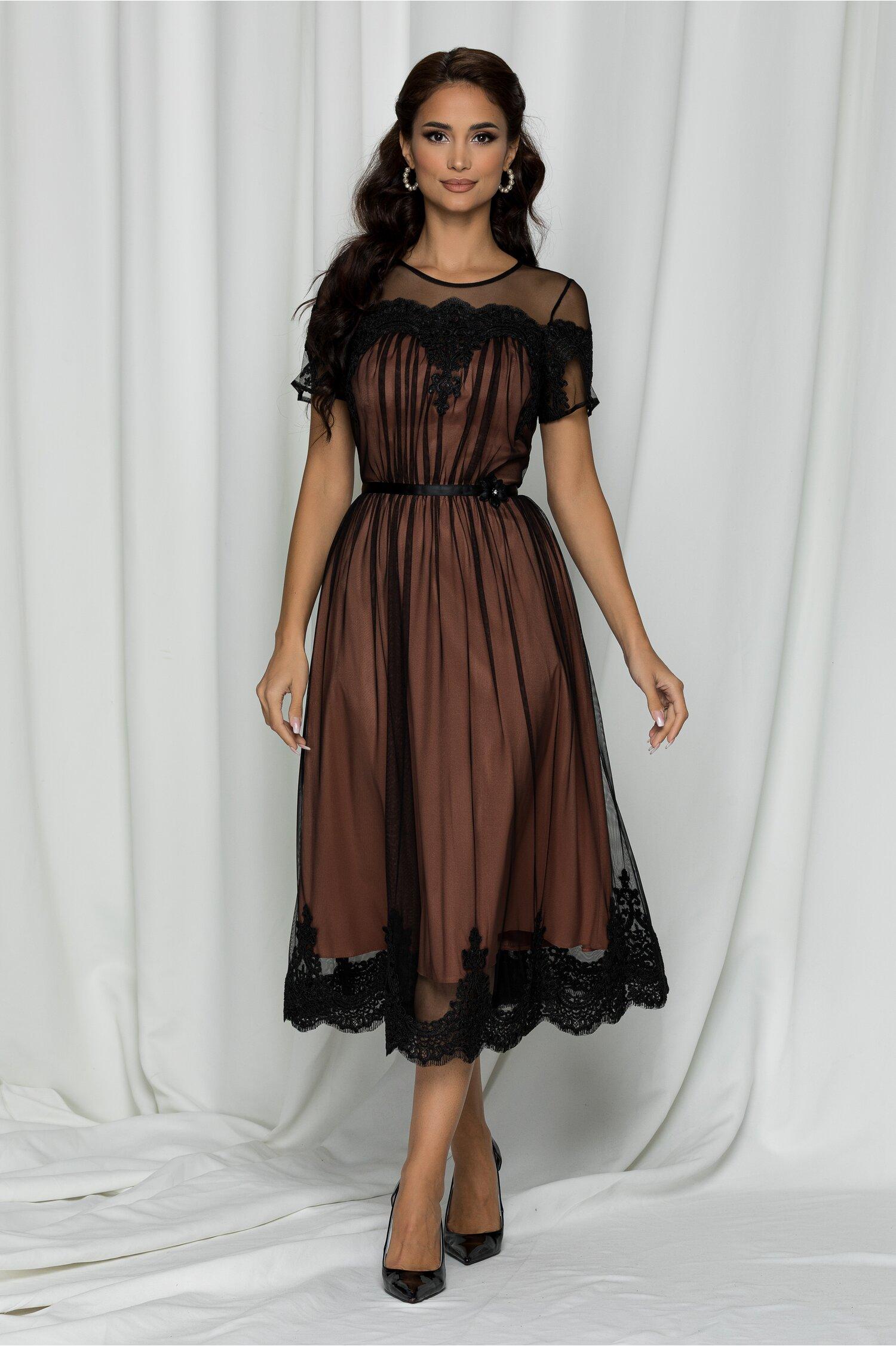 Rochie Ginette neagra din tull fin accesorizata cu dantela