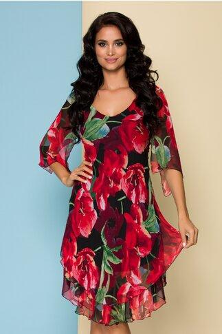 Rochie Ginette neagra din voal cu imprimeu floral rosu