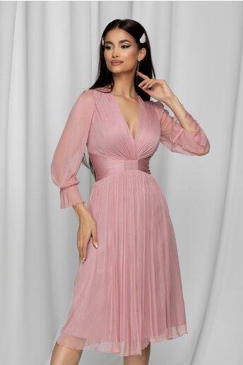 Rochie Ginette roz din tull de matase