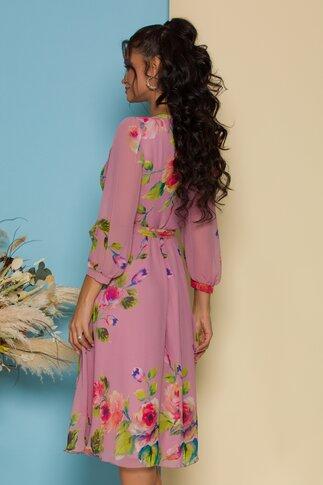Rochie Ginette roz din voal cu imprimeu floral colorat