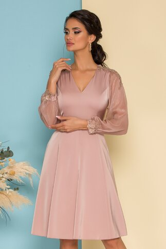 Rochie Ginette roz prafuit cu maneci din voal si broderie florala eleganta