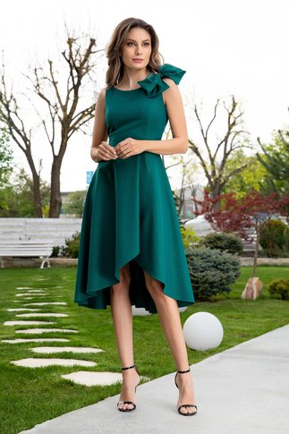 Rochie Ginette verde asimetrica cu funda la umar