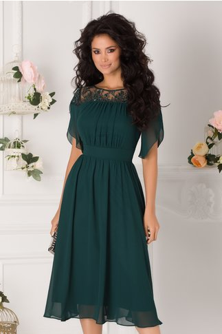 Rochie Ginette verde cu broderie si margelute la bust