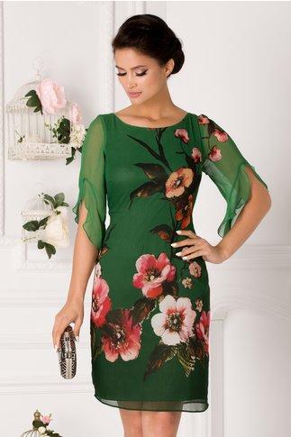 Rochie Ginette verde cu imprimeu floral roz