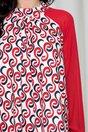 Rochie Ginny alba cu imprimeuri rosii