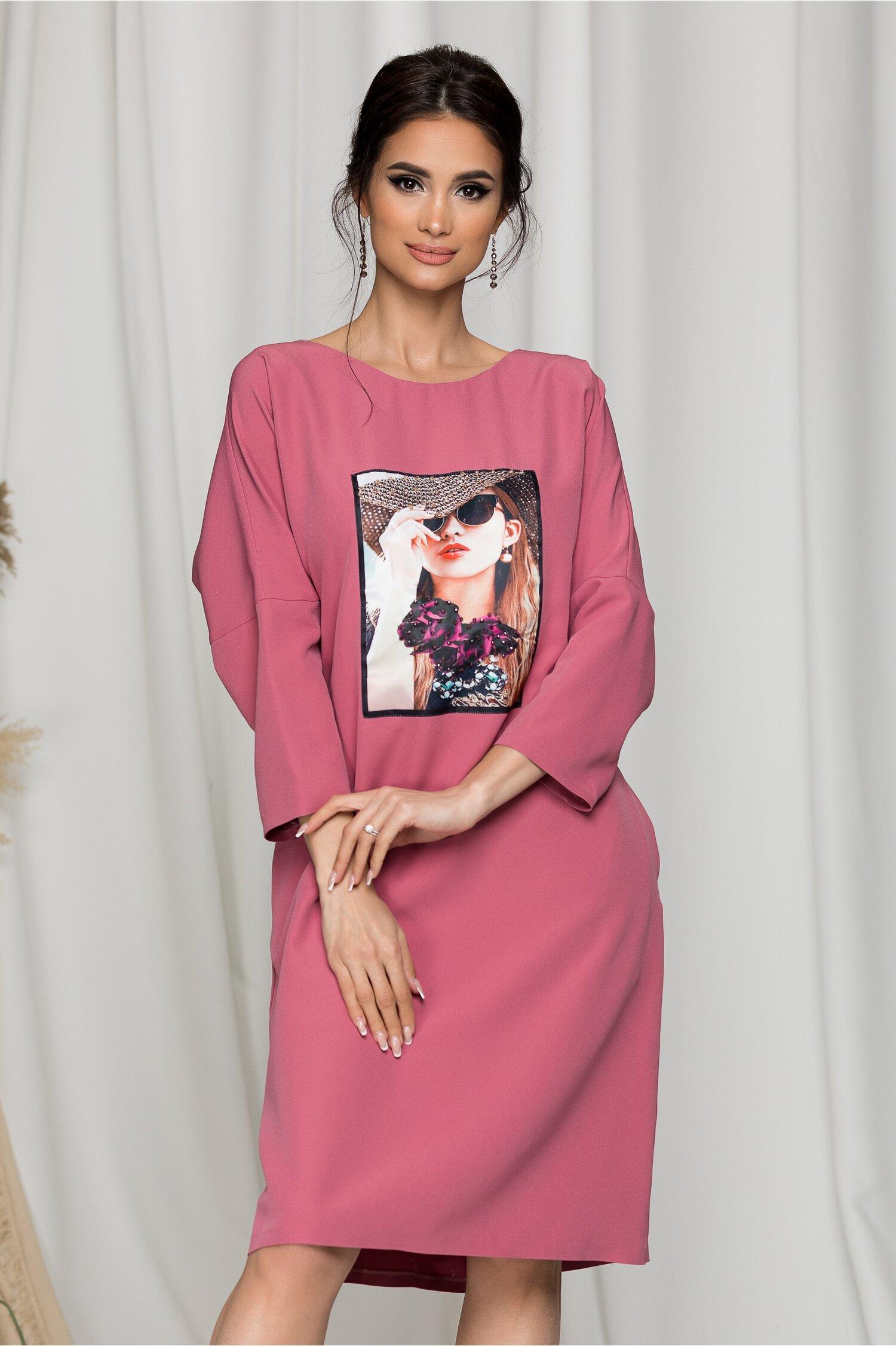 Rochie Girly roz casual cu imprimeu