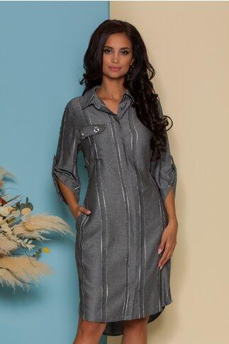 Rochie Giulia gri tip camasa cu dungi discrete