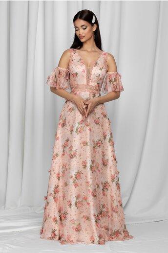 Rochie Giuseppa roz cu decolteu adanc in v si imprimeu floral